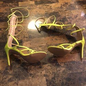 Neon calve high gladiator sandals